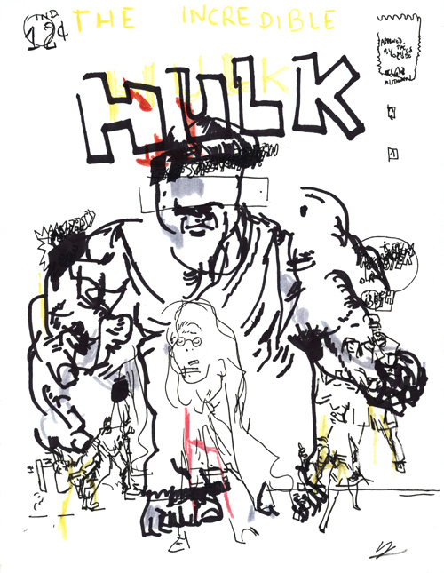 Aveuglette - Jack Kirby Is Dead - The Incredible Hulk par Julien Lauber d'après Jack Kirby