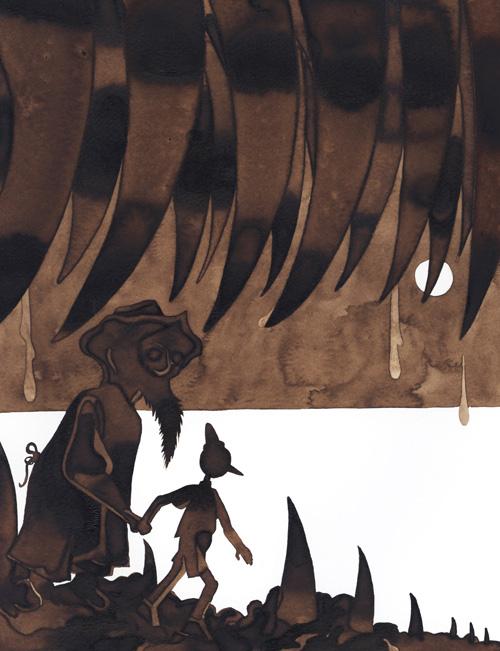 Pinocchio # 5 - Sort de la bouche du monstre par Julien Lauber d'après Carlo Collodi