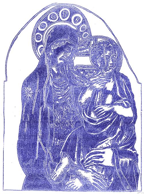 Les Classiques de la peinture prennent cher en ronéo : La Meuf à Joseph et leur môme par Julien Lauber d'après Nicola da Siena